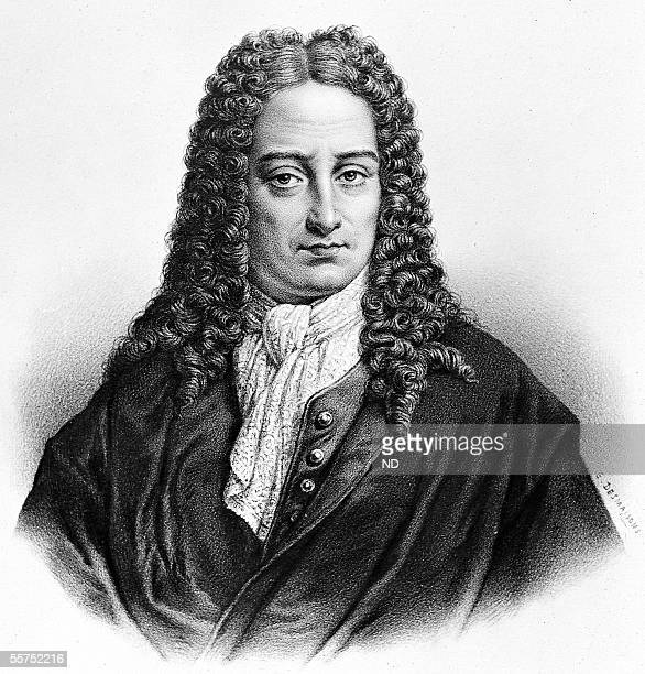 Gottfried Wilhelm Leibniz , German philosopher and mathematician. Lithograph of Pierre-Emile Desmaisons .