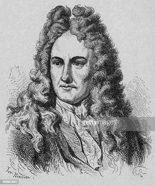 """Gottfried Wilhelm Leibniz German philosopher and scientist 17th century engraving from the book """"Album of science famous scientist discoveries"""" in..."""