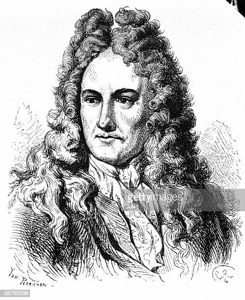 Gottfried Wilhelm Leibniz , German philosopher. Engraving of Perrichon .