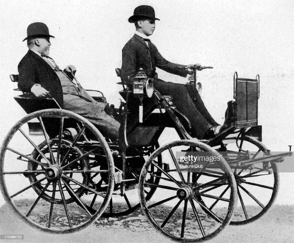 Gottlieb Daimler in his petrol-fuelled car, 1886 Pictures | Getty Images