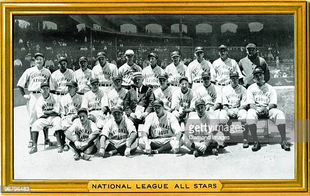 Goudey Gum premium photo shows members of the National League AllStar team posed for a group portrait prior to the first Major League Baseball...