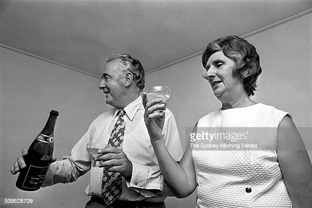Gough and Margaret Whitlam celebrating after winning the Labor Party won the 1972 Federal election on 2 December 1972 SMH NEWS Picture by LIPMAN