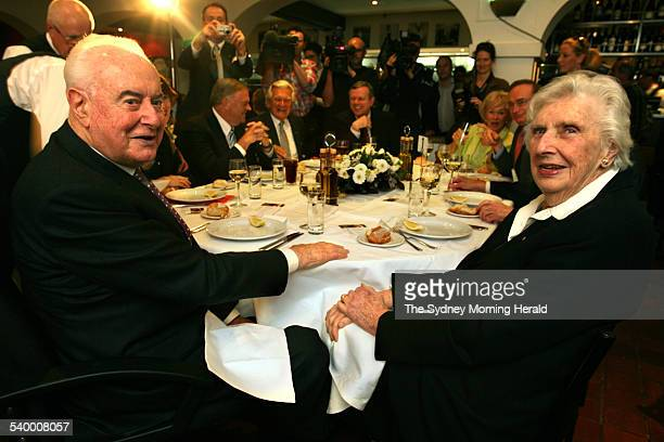 Gough and Margaret Whitlam share the table with from left Kim Beazley Bob Hawke South Australian Premier Mike Rann Blanche D'Alpuget and former New...
