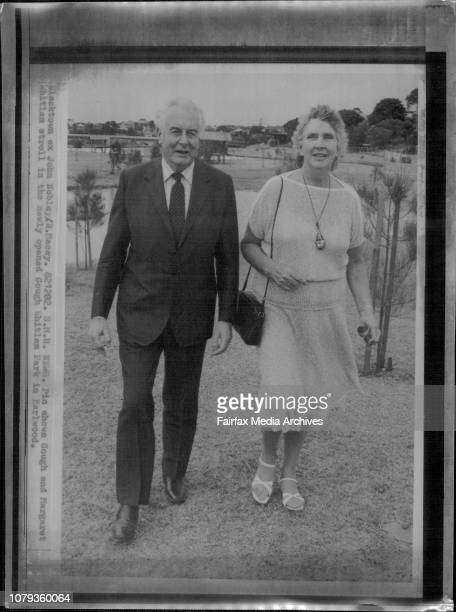 Gough and Margaret Whitlam stroll in the newly opened Gough Whitlam Park in Earlwood December 02 1982
