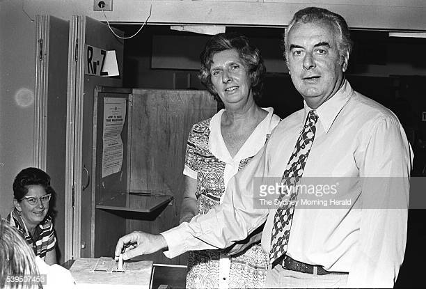 Gough and Margaret Whitlam voting in the 1972 federal election at Cabramatta East Primary School in his electorate of Werriwa in Sydneys south west...