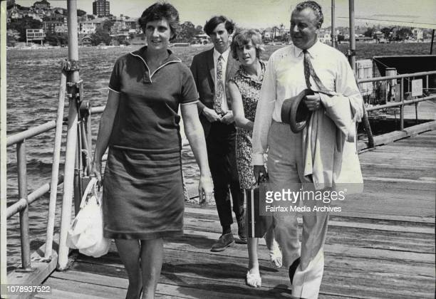 Gough Whitlam arriving at Rose Bay Flying Boat base today after holidaying at Lord Howe Island.With his wife and his son Stephen and his...