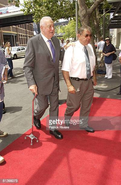 Gough Whitlam arriving for the official opening of the ' SYDNEY THEATRE ' by NSW Premier Bob Carr and STC Artistic Director Robyn Nevin Walsh...