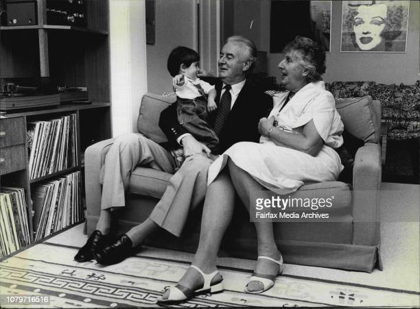 Gough Whitlam ten years after he was elected to Prime Minister of AustraliaMr Gough Whitlamd and his wife Margaret with their grandson Edward Hugo...