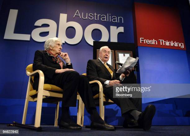 Gough Whitlam the 90yearold former prime minister of Australia right and his wife Margaret speak at a ceremony inducting the couple as the first...