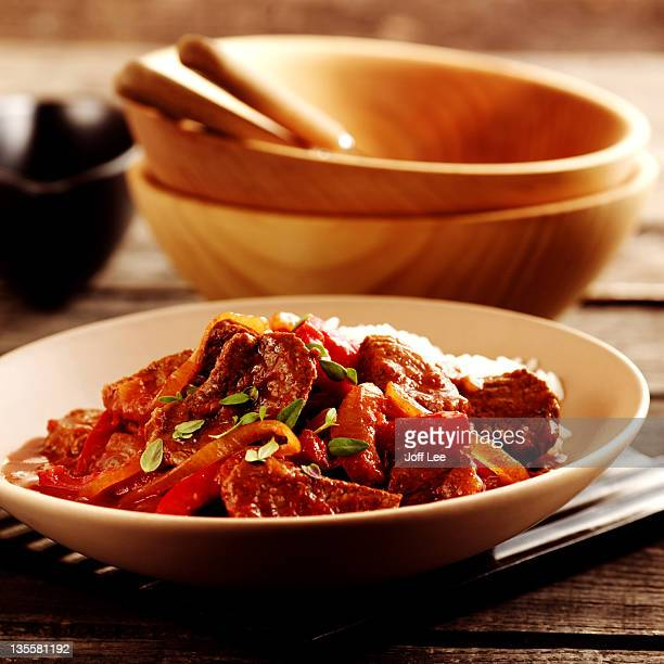 goulash with rice - traditionally hungarian stock pictures, royalty-free photos & images