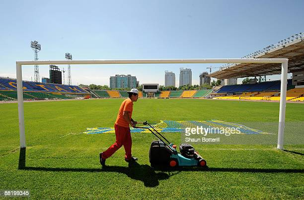 Gound staff prepare Central Stadium for the World Cup qualifier match between England and Kazakhstan on June 4 2009 in Almaty Kazakhstan The World...