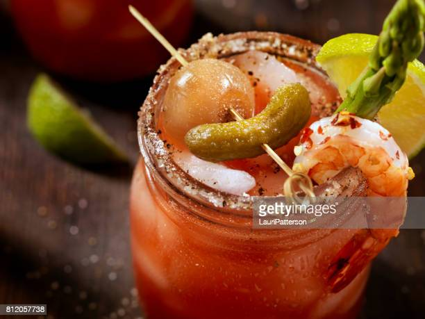 gourmet bloody mary - bloody mary stock photos and pictures