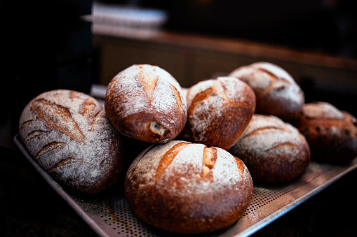 Gourmet Bread, No Knead Bread, just out of the oven - gettyimageskorea
