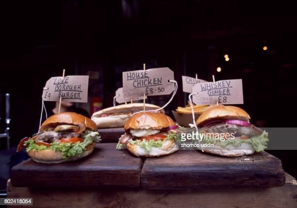 gourmet burgers - borough market - fotografias e filmes do acervo