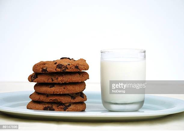 Gourmet chocolate chip cookies and glass of milk
