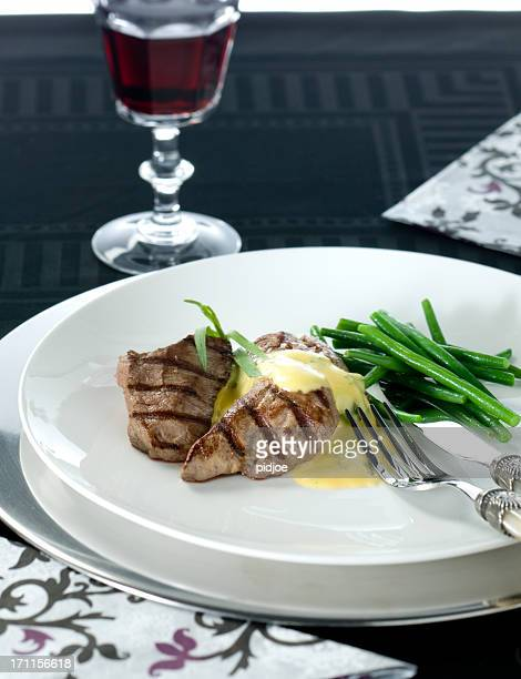 gourmet dish with grilled steak hollandaise sauce and green beans - course meal stock pictures, royalty-free photos & images