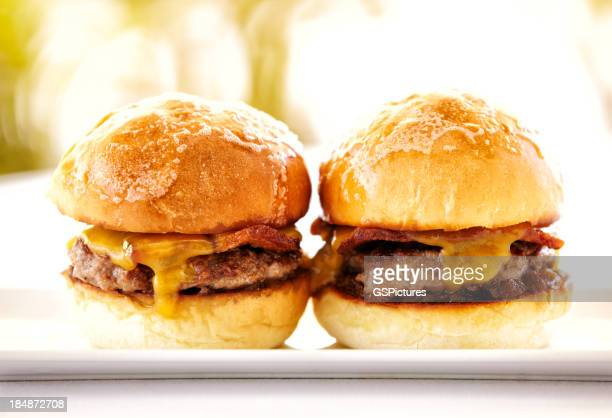 Gourmet hamburgers against a nature background