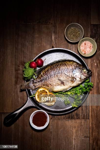 Gourmet Whole Dorado Fish on Metal Skillet Pan