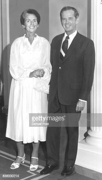 Gov and Mrs William G Milliken of Michigan in Denver for the annual convention of the National Governors' Association arrive at the Colorado...