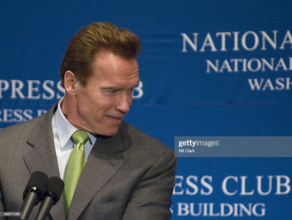 Gov. Arnold Schwarzenegger, R-Calif., in town for the National Governors' Association winter meeting, speaks at the National Press Club in Washington on Monday, Feb. 26, 2007.