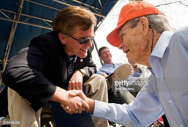 Gov. Bob McDonnell, R-Va., greets Floyd Gibbs of Hampton, Va., during the 63rd Annual Shad Planking political rally in Wakefield, Va. McDonnell was...