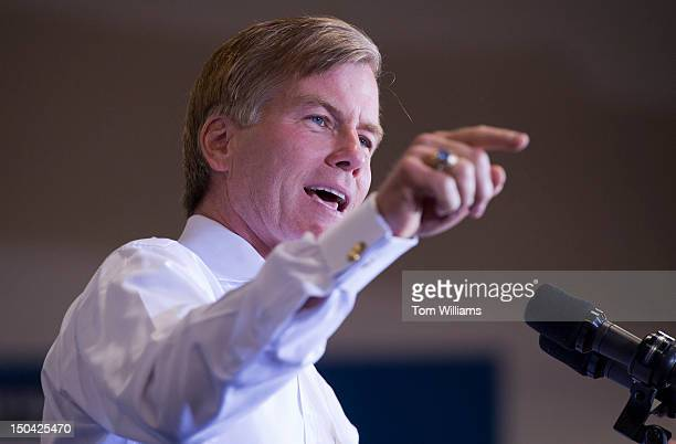Gov Bob McDonnell RVa introduces Rep Paul Ryan RWisc presumptive GOP vice presidential nominee at a campaign stop at Deep Run High School in Glen...