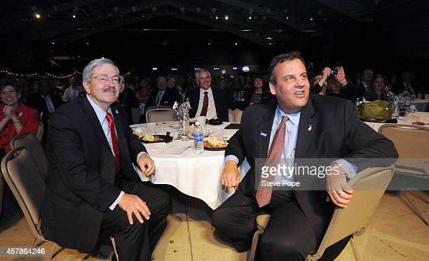 Gov Chris Christie attends a Birthday Bash for Gov Terry Branstad October 25 2014 in Clive Iowa Already distinguished as the states longest serving...