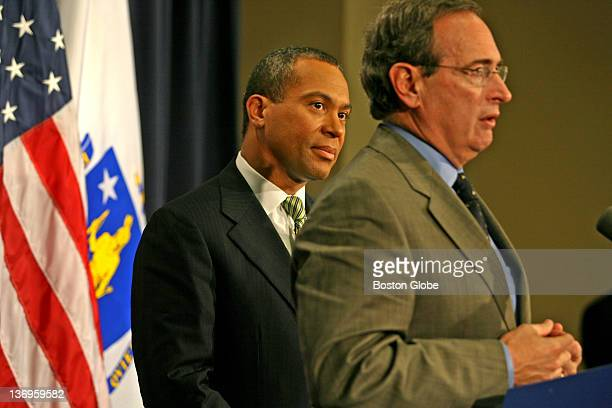 Gov Deval Patrick left announces two actions at a StateHouse press conference on Thursday Jan 11 2007 Through Public Safety Secretary Kevin M Burke...