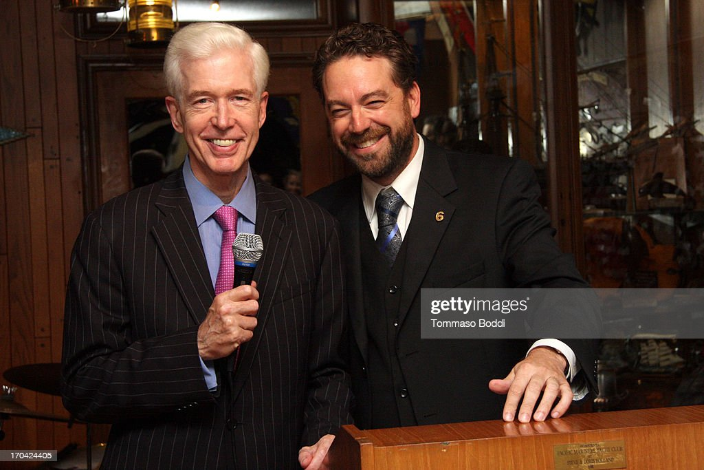 Gov. Gray Davis (L) and Creator/Executive Producer Brent Roske attend the 'Chasing The Hill' reception held at the Pacific Mariners Yacht Club on June 12, 2013 in Marina del Rey, California.