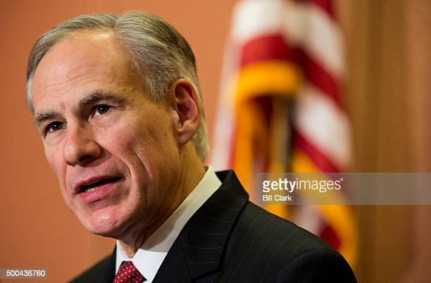 Gov Greg Abbott RTexas holds a news conference with Sen Ted Cruz RTexas in the US Capitol to discuss Syrian refugee legislation on Tuesday Dec 8 2015