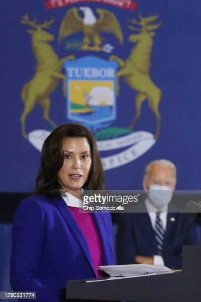 Gov. Gretchen Whitmer introduces Democratic presidential nominee Joe Biden delivers remarks about health care at Beech Woods Recreation Center...