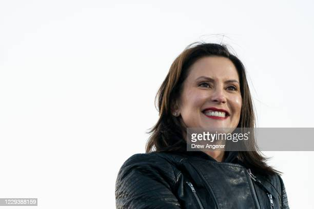 Gov. Gretchen Whitmer speaks during a drive-in campaign rally with Democratic presidential nominee Joe Biden and former President Barack Obama at...