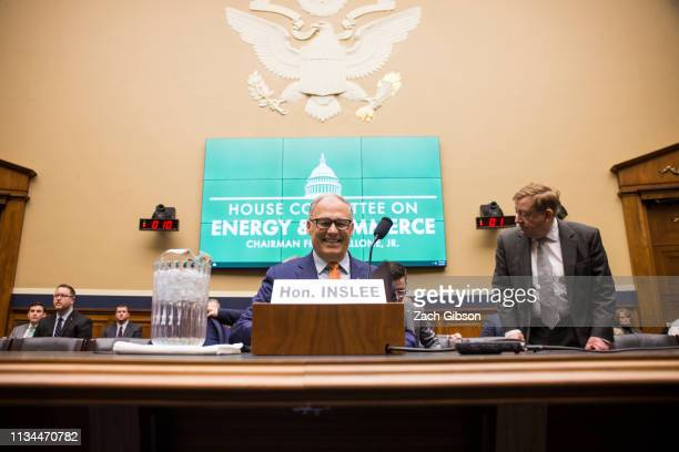 Gov Jay Inslee arrives to testify at a House Energy and Commerce Environment and Climate Change Subcommittee hearing on Capitol Hill on April 2 2019...
