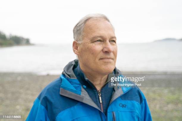Gov Jay Inslee of Washington state photographed on Monday May 13 on Bainbridge Island Wash