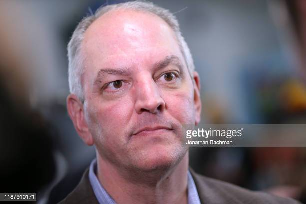 Gov John Bel Edwards talks to media at the Case Closed Barbershop on November 15 2019 in New Orleans Louisiana Louisiana residents head to the polls...