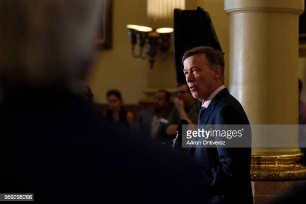 Gov John Hickenlooper speaks at the Colorado State Capitol on Wednesday May 16 2018 Lawmakers joined Gov John HIckenlooper to kick off a formal...