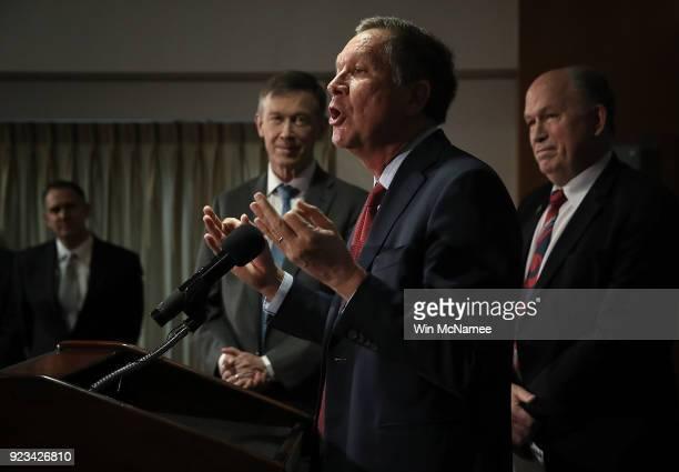 Gov John Kasich Gov John Hickenlooper and Gov Bill Walker speak during a press conference February 23 2018 in Washington DC The three governors...
