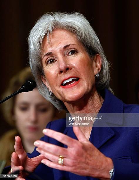 Gov Kathleen Sebelius testifies before the Senate Finance Committee April 2 2009 in Washington DC Sebelius testified on her nomination to be...