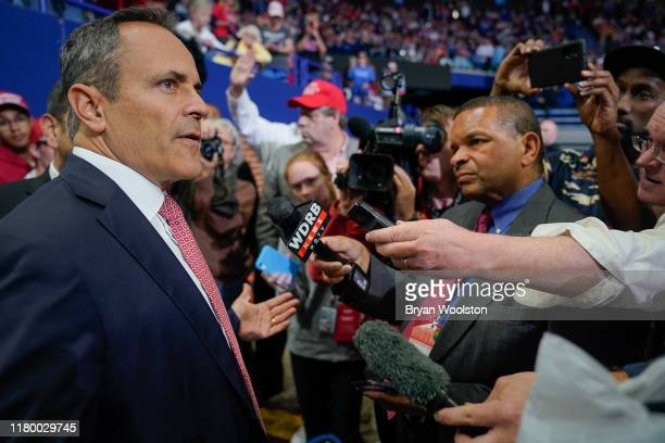 Gov Matt Bevin of Kentucky speaks with the media prior to a campaign rally for US President Donald Trump on November 4 2019 in Lexington Kentucky The...