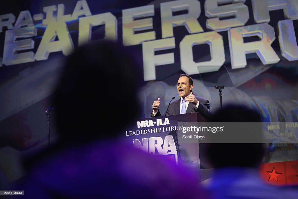 Gov. Matt Bevin (R-Ky.) speaks at the National Rifle Association's NRA-ILA Leadership Forum during the NRA Convention at the Kentucky Exposition Center on May 20, 2016 in Louisville, Kentucky. The convention, which opened today, runs until May 22.