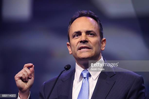 Gov Matt Bevin speaks at the National Rifle Association's NRAILA Leadership Forum during the NRA Convention at the Kentucky Exposition Center on May...