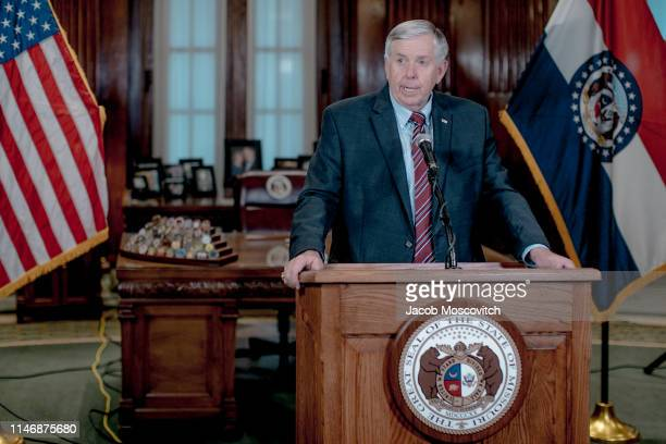 Gov. Mike Parson speaks during a press conference to discuss the status of license renewal for the St. Louis Planned Parenthood facility on May 29,...