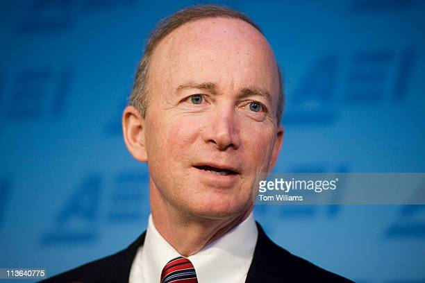 Gov. Mitch Daniels, R-Ind., delivers a speech at the American Enterprise Institute in downtown Washington, on education policies in Indiana.