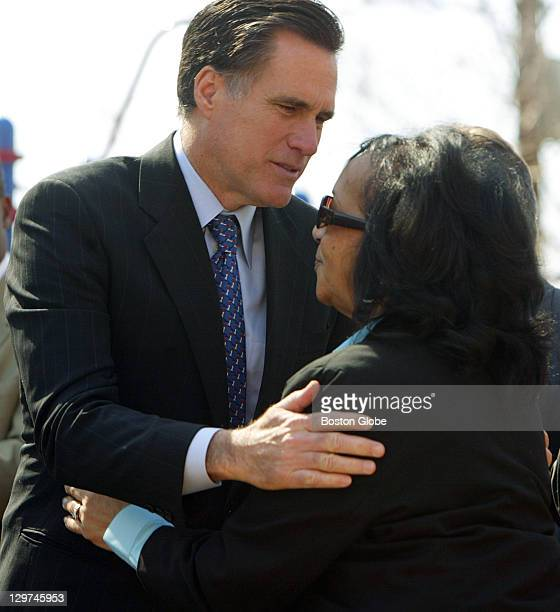 Gov Mitt Romney hugs Phyllis Lopes of New Bedford whose grandson Cecil was murdered by gang members on Halloween night 2004 This was during a...