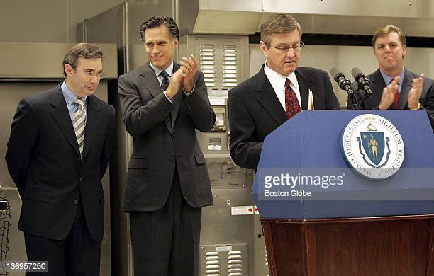 Gov Mitt Romney second from left at a press conference at Legal Sea Food Corporate Office where he announced a $100 million fund that will be offered...