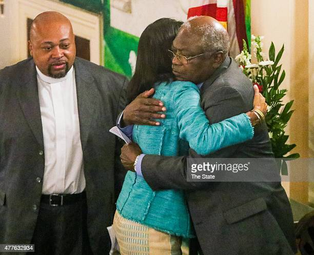SC Gov Nikki Haley and US Congressman James Cleburne embrace during the prayer vigil that was held on June 18 2015 at Morris Brown AME Church for the...