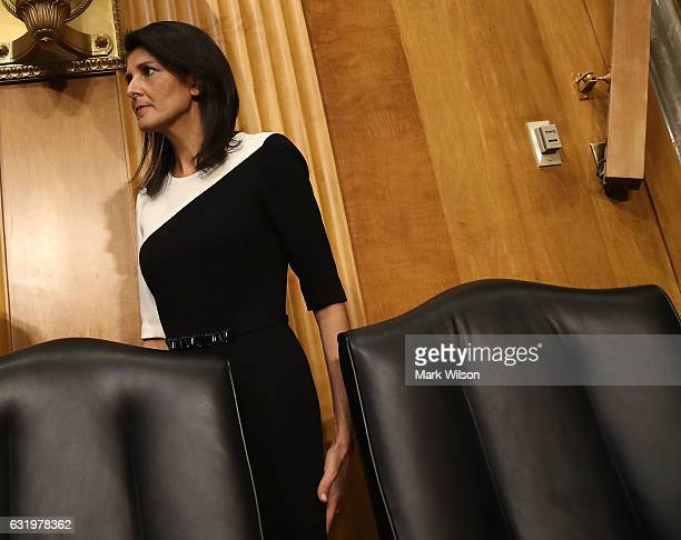 Gov Nikki Haley arrives at her Senate Foreign Relations Committee confirmation hearing on Capitol Hill January 18 2017 in Washington DC Haley was...