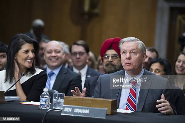 Gov Nikki Haley RSC Presidentelect Trump's nominee to be US ambassador to the United Nations is introduced by Sen Lindsey Graham RSC during her...