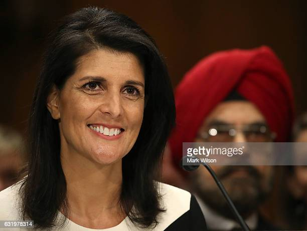 Gov Nikki Haley speaks during her Senate Foreign Relations Committee confirmation hearing on Capitol Hill January 18 2017 in Washington DC Haley was...