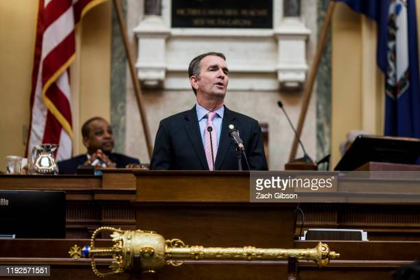 Gov. Ralph Northam delivers the State of the Commonwealth address at the Virginia State Capitol on January 8, 2020 in Richmond, Virginia. The 2020...